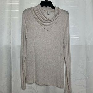 Cabi cowl Neck Heathered Off White Long Sleeve top